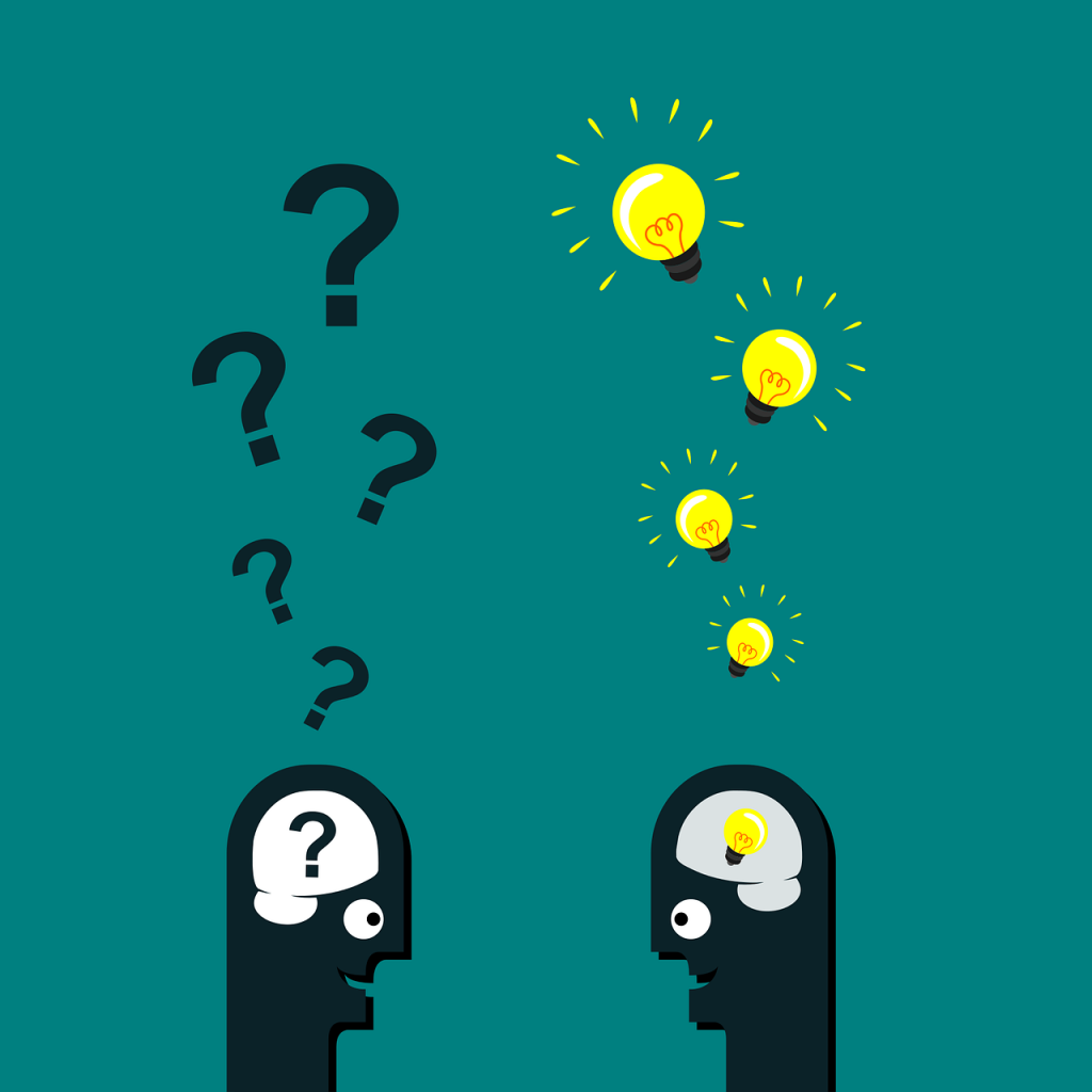 two men conversing, one with question marks above his head, the other with light bulbs above his